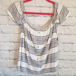 Torrid Striped Off Shoulder Cropped Knit Blouse 1X